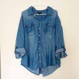 Lane Bryant Chambray Button Down Top
